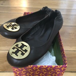 Tory Burch Minnie Travel Leather Ballet Flats!!